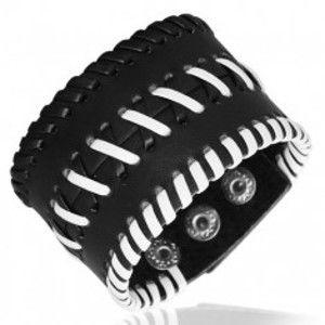 Kožený náramek - sešité pásy křížky, černý U13.5