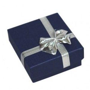 Krabička na náušnice - tmavomodrá kostka, stříbrná mašle Y4.15