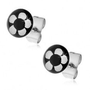Kruhové ocelové náušnice - bílý květ na černém podkladu AA01.26