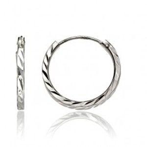 Kruhy ze stříbra 925 - vyhloubená zrníčka na povrchu, 15 mm A20.5