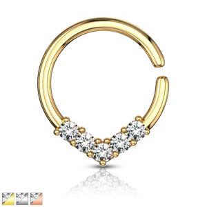 Kulatý piercing do ucha nebo nosu - ozdobná korunka se zirkony, 1 mm - Barva piercing: Zlatá