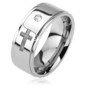 Lesklý ocelový prsten - vystouplý pás, čirý zirkon, matný kříž, 6 mm K08.12