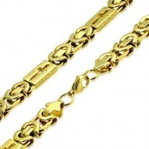 Lesklý řetízek zlaté barvy z oceli - byzantský vzor, latinské kříže S71.08