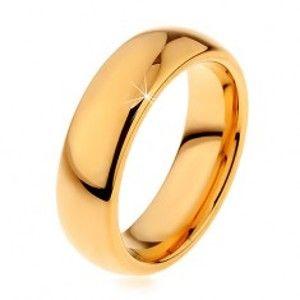 Lesklý wolframový prsten zlaté barvy, hladký zaoblený povrch, 6 mm H8.04