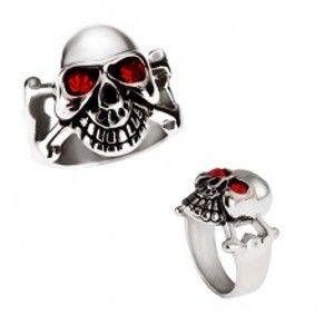 Lesklý ocelový prsten - stříbrná lebka s červenýma očima BB3.11