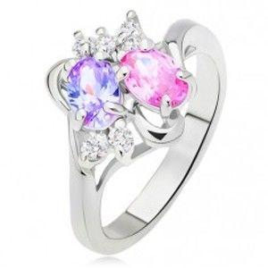 Lesklý prsten, rozvětvená a zvlněná ramena, barevné a čiré kamínky L12.02