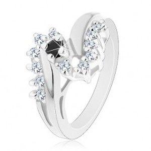 Lesklý prsten s rozdvojenými rameny, kulatý černý zirkon, blýskavá linie G15.06