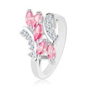 Lesklý prsten stříbrné barvy, růžová zirkonová zrnka, čiré zirkonky R32.28