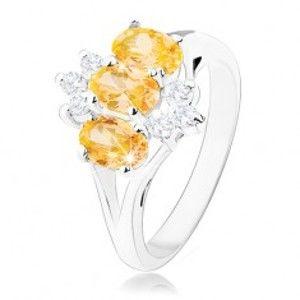 Lesklý prsten ve stříbrné barvě, žluté zirkonové ovály, čiré zirkonky R33.10