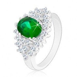 Lesklý prsten ve stříbrném odstínu, broušené čiré zirkonky, tmavě zelený ovál G13.07