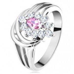 Blýskavý prsten, rozvětvená ramena, růžovo-čirý zirkonový kvítek, obloučky G11.25