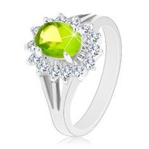 Blýskavý prsten s rozdělenými rameny, zirkonový ovál v zelené barvě V01.18