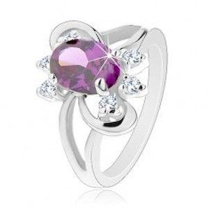 Blýskavý prsten s rozdvojenými rameny, fialový broušený zirkon, hladké oblouky G15.08