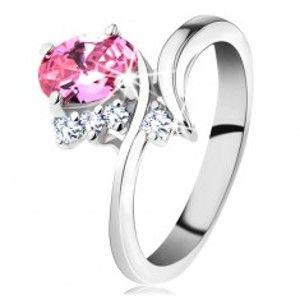 Blýskavý prsten se zahnutými rameny, růžový oválný zirkon, čiré zirkonky G10.26