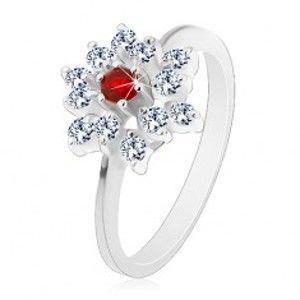 Blýskavý prsten, stříbrná barva, čirý zirkonový květ s červeným středem AC23.29