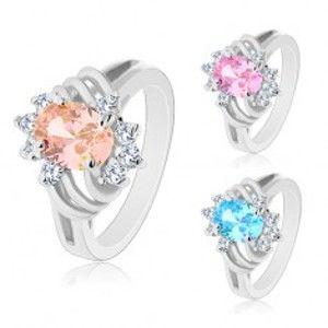 Blýskavý prsten stříbrné barvy, velký barevný ovál, tenké oblouky a čiré zirkony AC23.08