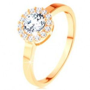 Blýskavý prsten ve žlutém 14K zlatě - kulatý zirkon s obrubou z čirých zirkonků GG113.07/13