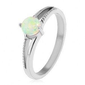 Blýskavý prsten z oceli 316L, stříbrný odstín, kulatý syntetický opál, vroubky H4.14