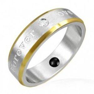 Magnetický prsten z oceli - zlaté okraje, romantické gravírování K13.1