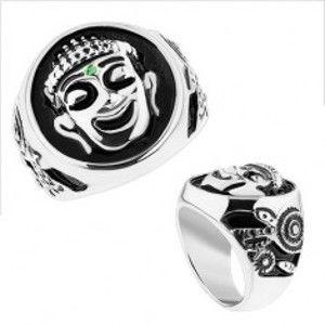 Masivní prsten, ocel 316L, stříbrná barva, černá glazura, usmívající se Budha HH12.13