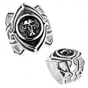 Masivní prsten z chirurgické oceli, patinované zrnko s lebkou, výřezy Z40.11/12