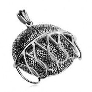 Mohutný ocelový přívěsek stříbrné barvy, basketbalový míč padající do koše AB26.03