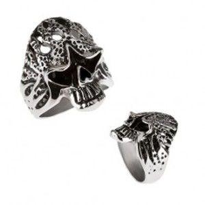 Mohutný prsten z chirurgické oceli - hořící lebka BB3.12