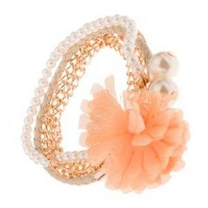 Multináramek - zlaté řetízky, béžový pletenec, korálky, oranžová květina S39.20