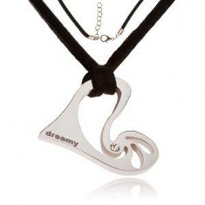 Náhrdelník - černá kožená šňůrka, asymetrické srdce s kamínkem S45.02