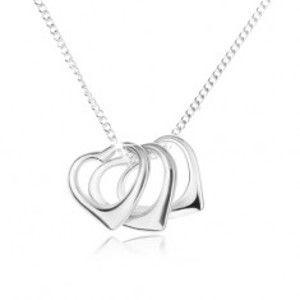 Náhrdelník - řetízek a obrysy tří srdcí, stříbro 925 SP03.02