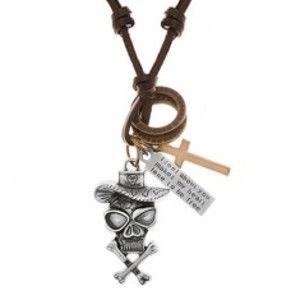 Náhrdelník - šňůrka z umělé kůže, lebka v klobouku, kříž, známka, kruhy Y40.17