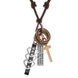 Náhrdelník s přívěsky - černý pás se srdíčky a zirkony, kříž, známka, kruhy Y42.01