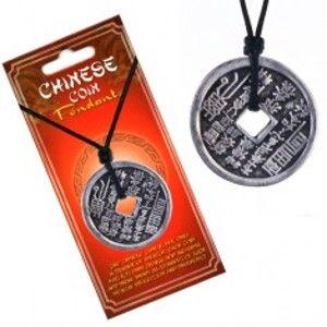 Náhrdelník se šňůrkou – mince, svislé čínské znaky a piktogramy AA45.16