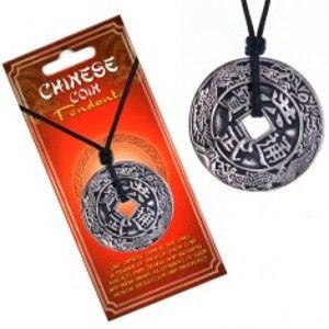 Náhrdelník se šňůrkou, čínská mince, ornamenty a znaky AA45.12