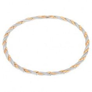 Náhrdelník z oceli, šikmé linie zlaté a stříbrné barvy, hadí vzor, magnety S73.05