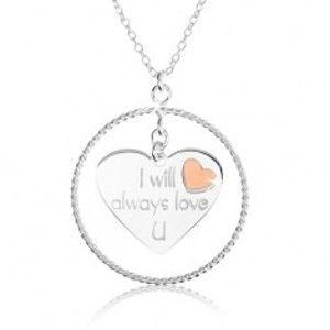 Náhrdelník ze stříbra 925, obrys kruhu, srdce s nápisem a červeným srdíčkem SP37.02