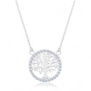 Náhrdelník ze stříbra 925, přívěsek - strom života se zirkonovým lemem R45.17