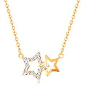 Náhrdelník ze žlutého 14K zlata - dvě kontury hvězdiček, jemný řetízek GG138.24