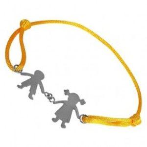Náramek ze stříbra - chlapec a děvče na žluté šňůrce, spojení rukama T20.14
