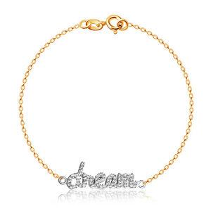 """Náramek ze stříbra 925 ve zlatém barevném provedení - zirkonový nápis """"Dream"""""""