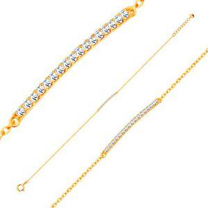 Náramek ze žlutého 14K zlata - třpytivý úzký pás ze zirkonů čiré barvy