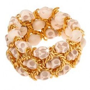 Náramek, elastický, splétaný řetízek zlaté barvy, lebky O12.19