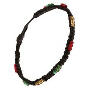 Náramek pletený z černých šňůrek, barevné korálkové čárky S18.28