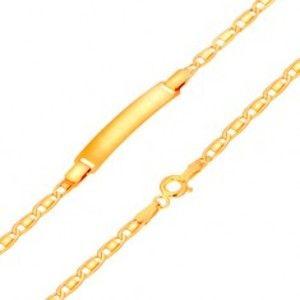 Náramek s destičkou ze žlutého 14K zlata, podlouhlé články, lesklý obdélník, 175 mm GG169.03