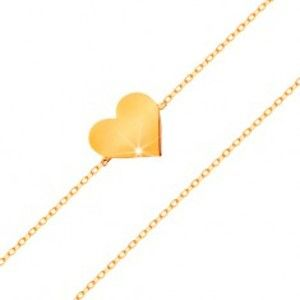 Náramek ve žlutém 14K zlatě - blýskavý tenký řetízek, přívěsek - ploché srdíčko GG159.25