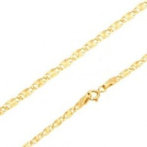 Náramek ve žlutém 14K zlatě - ploché podlouhlé články, paprskovité rýhy, 190 mm GG100.19