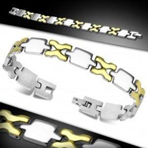 Náramek z chirurgické oceli, lesklé dílky zlaté a stříbrné barvy AA28.19
