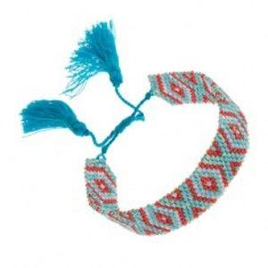 Náramek z korálků tyrkysové a červené barvy, indiánský motiv, šňůrky SP86.09