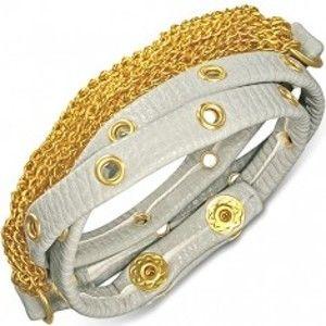 Náramek z kůže - šedý pás se zlatým kováním a řetízky AB21.09