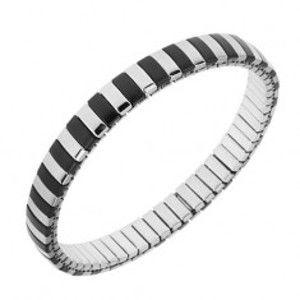 Náramek z oceli, stříbrná a černá barva, úzké pásky, roztahovací řemínek S76.02